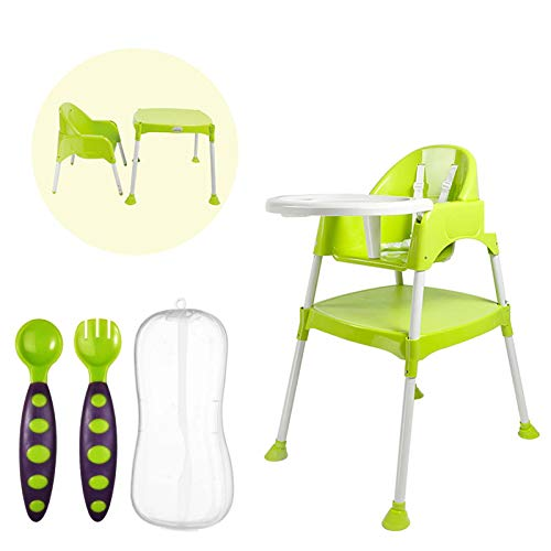 Safe-O-Kid Best Combo, Convertible 4 in 1 Booster, Feeding High Chair with Adjustable Tray and a Table and a Training Spoon Set with Box for Baby- Green